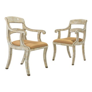 1980s Maitland Smith Tessellated Stone Armchairs - a Pair For Sale