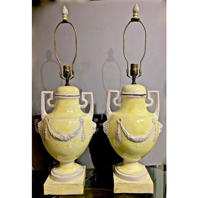 Italian Majolica Urn Lamps in Pale Yellow, C. 1960s - a Pair For Sale - Image 10 of 11