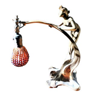 Bronze Women Sculpture Table Lamp