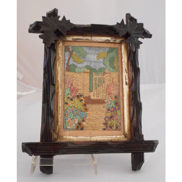 Arts & Crafts - Victorian Silk Embroidery Picture in Black Forest Frame For Sale - Image 9 of 9