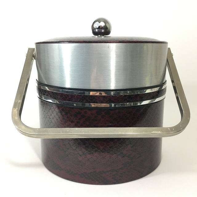 American Classical George Briard Faux Red Snakeskin Ice Bucket For Sale - Image 3 of 10