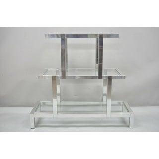 Mid Century Modern 3 Tier Aluminum Glass Milo Baughman Etagere Preview