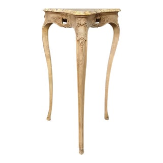 19th Century Country French Louis XV Marble Top Triangular Lamp Table~Pedestal For Sale