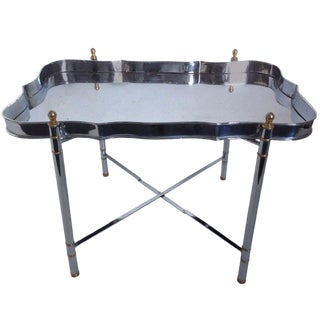 1970s Regency Maison Jansen Chrome and Brass Tray Table For Sale