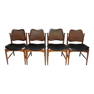 Arne Vodder Mid Century Danish Modern Teak and Cane Dining Chairs - Set of 4 For Sale