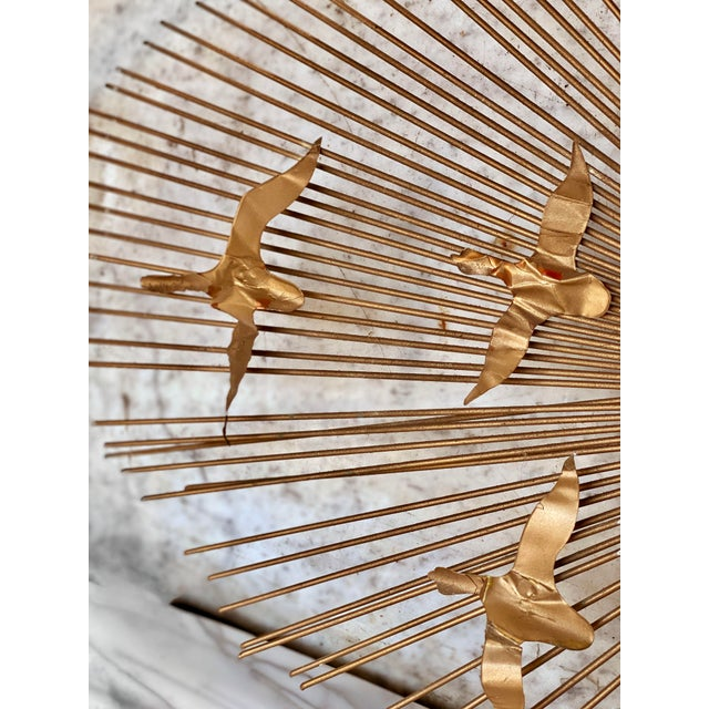 1960s Mid-Century Brass Sunburst Birds in Flight Wall Sculpture by William Friedle For Sale - Image 5 of 13