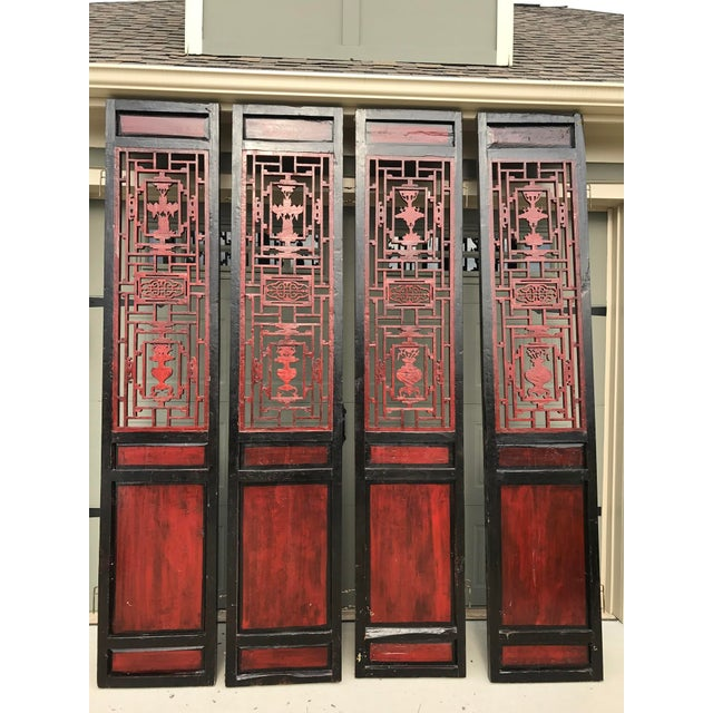 Asian Qing Dynasty Chinese Lacquer Painted Folding Exterior Doors - Set of 4 For Sale - Image 3 of 11