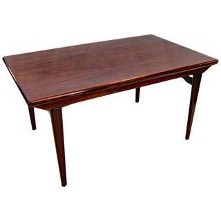 Rosewood Dining Table With Two Draw Leaves, N. O. Møller For Sale
