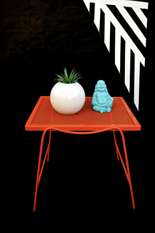 Mid Century Modern Hermes Orange Metal Patio Side Tables