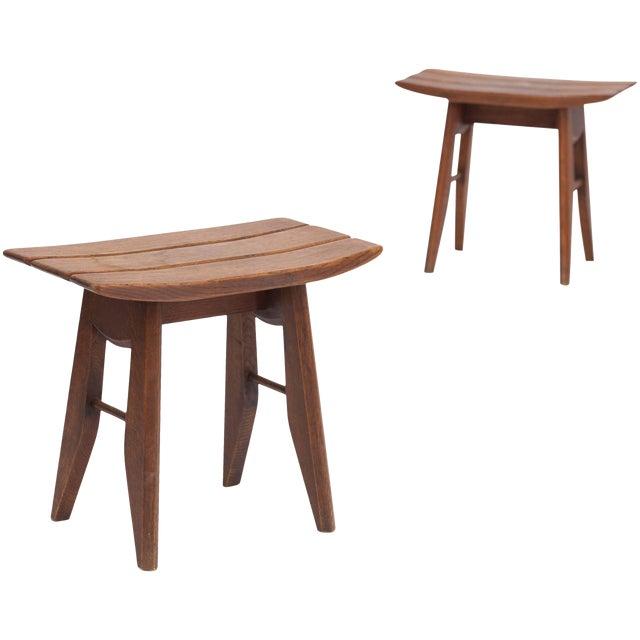 Pair of Oak Tabourets by Guillerme & Chambron for Votre Maison For Sale
