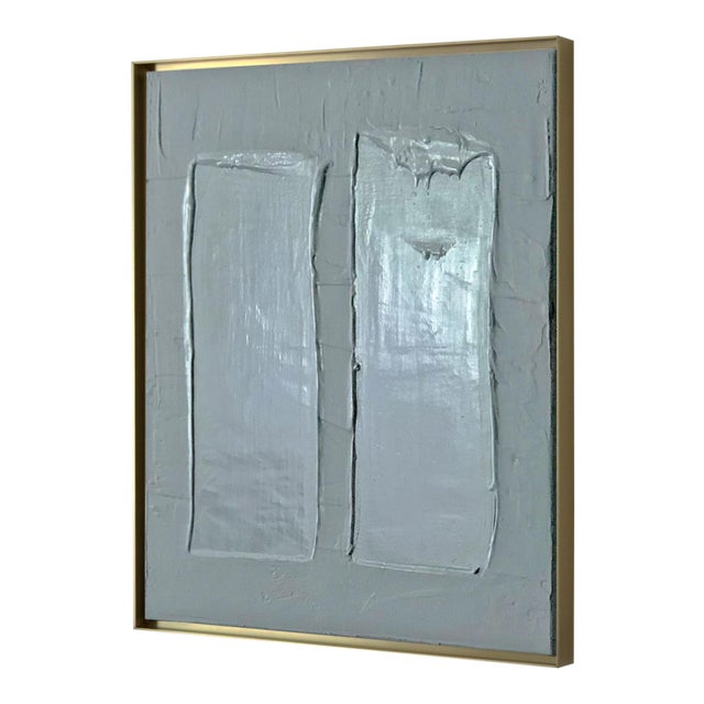 Abstract Minimalist Framed Blue Painting For Sale