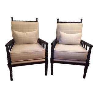 American Classical Custom Upholstered Spindle Chairs - a Pair For Sale