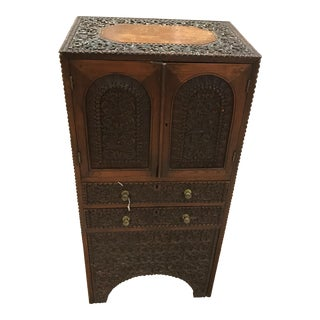 19th Century Antique Anglo-Indian Carved Teak Music Cabinet