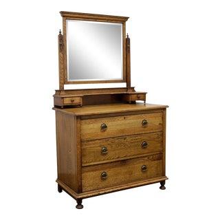 Antique Victorian Era Oak Dresser With Mirror For Sale