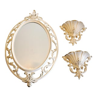 Vintage Syroco White Mirror and Wall Pockets - Set of 3 For Sale