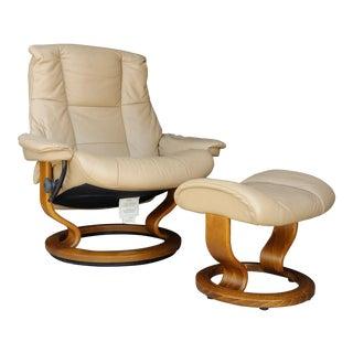 1990s Scandinavian Ekornes Teak & Leather Chair and Ottoman - 2 Piece Set