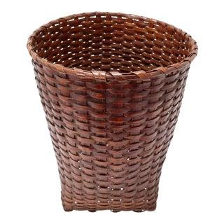 Unusual Antique Hand Woven Ash Splint Waste Paper Basket For Sale