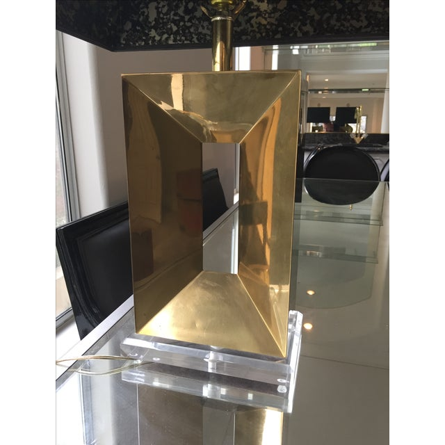 Brass & Lucite Table Lamps - A Pair - Image 5 of 11