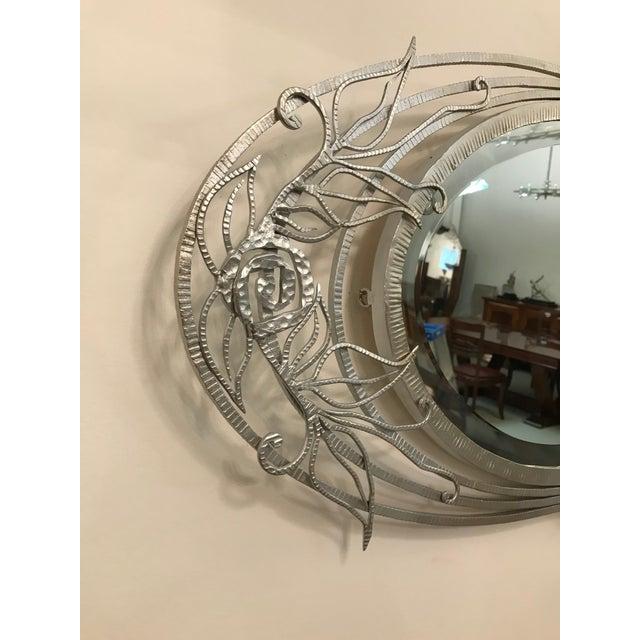 Glass French Art Deco Geometric and Floral Wall Mirror For Sale - Image 7 of 10