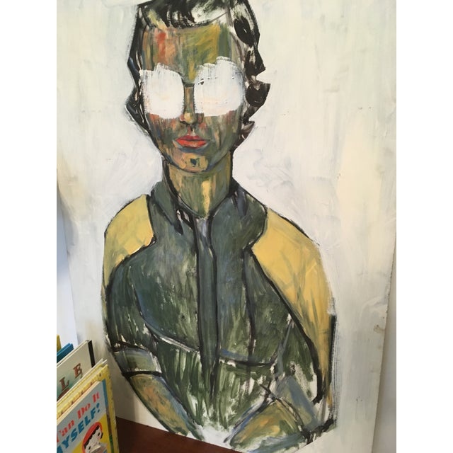 """1960s Mid-Century Large Pop Art Abstract """"Man in Sunglasses"""" Painting on Board For Sale - Image 5 of 8"""