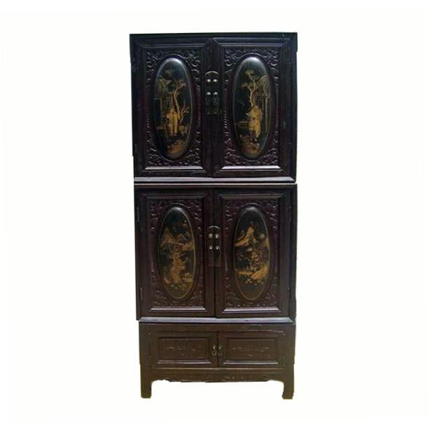 Chaozhou Painted & Carved Cabinets on Stand - Set of 3 For Sale - Image 13 of 13