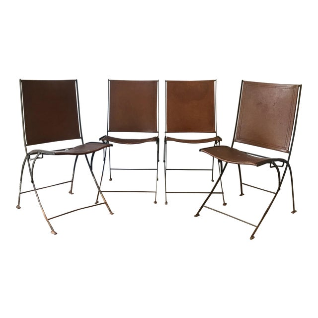 Leather & Iron Folding Chairs - Set of 4 For Sale