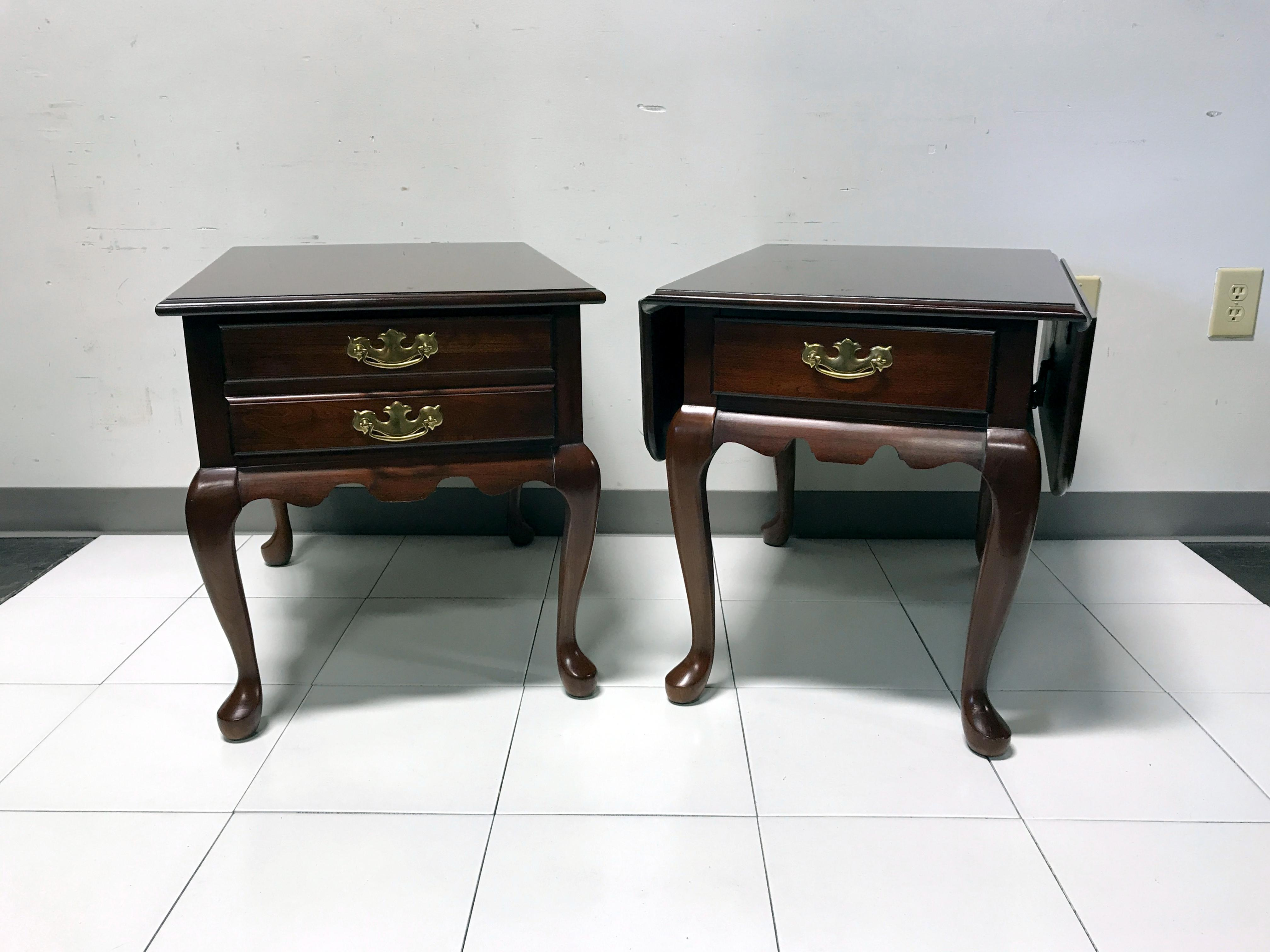 JF Delwood Solid Cherry Queen Anne Style Side End Tables   Image 4 Of 11