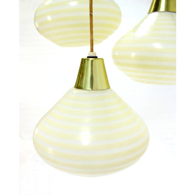Exquisite 1960s triple art glass stripe pattern cone shape pendant 1960s triple art glass stripe pattern cone shape pendant globe light fixture image 6 of aloadofball