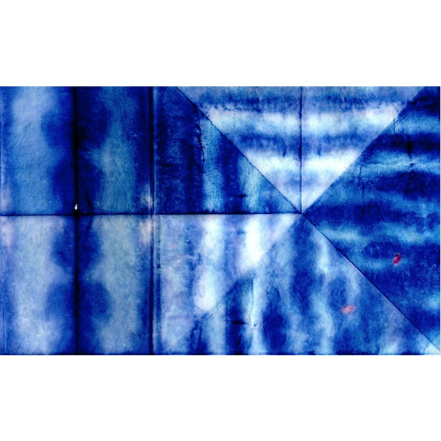 Paper Bright Blue Abstract Artwork - Unframed Print For Sale - Image 7 of 8