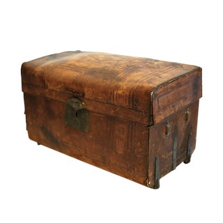 19th C. Leather and Brass Trunk Made in San Francisco C. 1850-1890