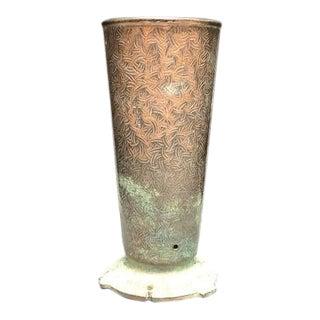 Etched Brass Vase Planter For Sale