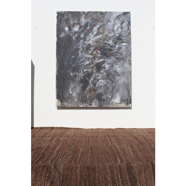 A large abstract painting in noir colours black grey and white, great size and somewhat drama Note we ship worldwide...