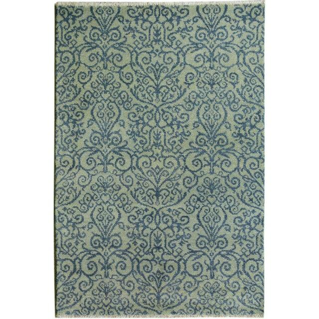 Blue Kafkaz Peshawar Cyrena Lt. Green/Blue Wool Rug - 4' X 6' For Sale - Image 8 of 8