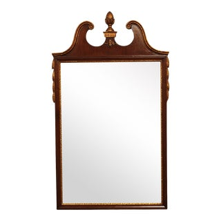 Friedman Brothers Vintage Georgian Style Mahogany Partial Gilt Wall Mirror #5488 For Sale