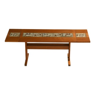 Danish Extension Dining Table in Teak With Ceramic Tiles Ca. 1970 For Sale