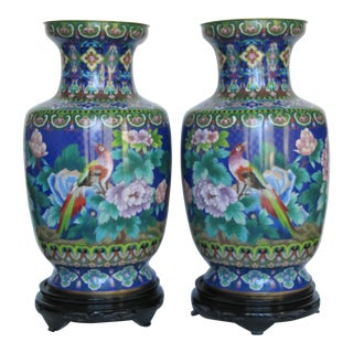 Pair of Antique Chinese Decorative Cloisonné Enamel Vases- 2 Pieces For Sale