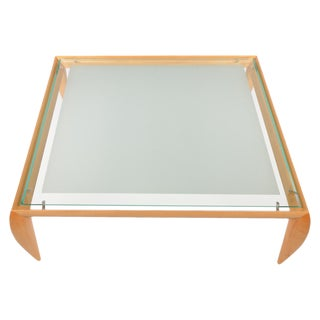 1990s Contemporary Brueton Wood & Glass Top Coffee Table For Sale