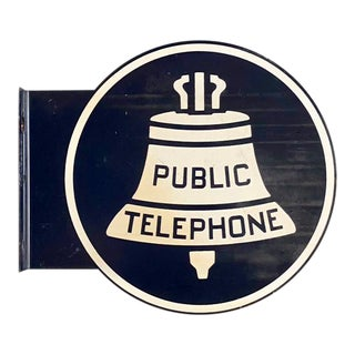 Vintage Public Telephone Double-Sided Porcelain Flange Sign
