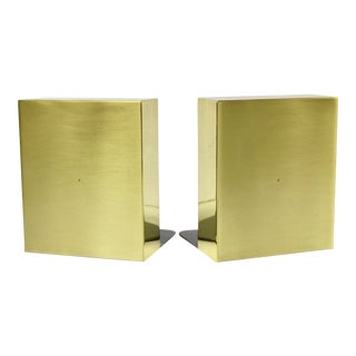 Modern Brass Block Bookends