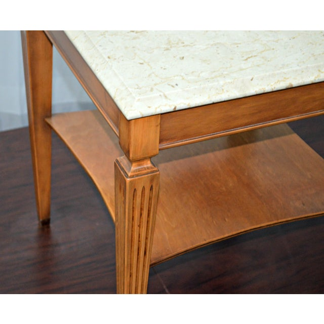 Traditional Square Side Table With Marble Top - Image 6 of 7
