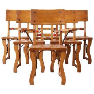 Set of Six California Rancho Monterey Dining Chairs For Sale