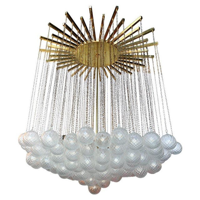 Metal 1970s Italian Bubble Glass Chandelier For Sale - Image 7 of 7