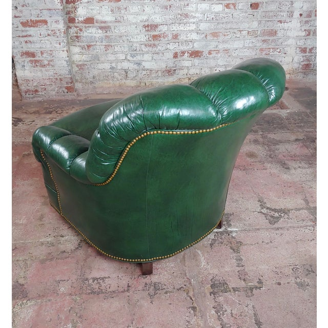 1960s Hancock & Moore Tufted Green Leather Club Chair with Ottoman For Sale - Image 5 of 11