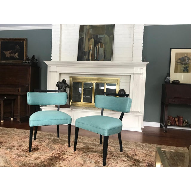 Modern Black Lacquer and Teal Accent Chairs - A Pair For Sale - Image 12 of 13