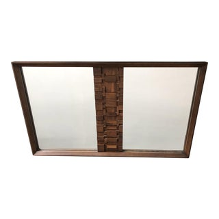 Lane Staccato Brutalist Large Mirror For Sale