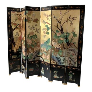 Final Markdown - Vintage Chinoiserie Japanese Gold Leaf Coromandel Folding Screen For Sale