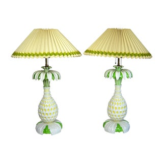Italian Pineapple Lamps - Pair