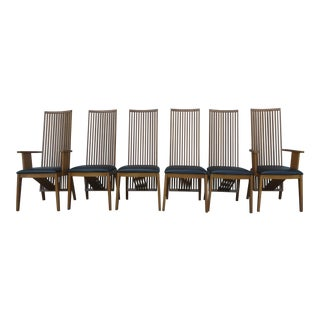 Vintage Italian A. Sibau Frank Lloyd Wright Inspired Dining Chairs- 6 Pieces For Sale