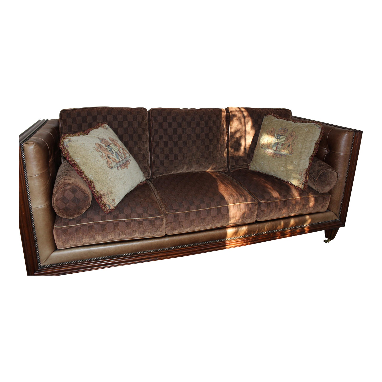 Modern Leather Fabric Drexel Heritage Sofa