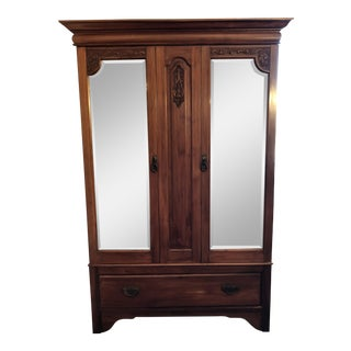 Vintage Cherry & Mirrored Doors Armoire For Sale